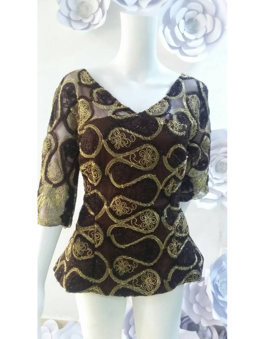 BROWN LACE BLOUSE