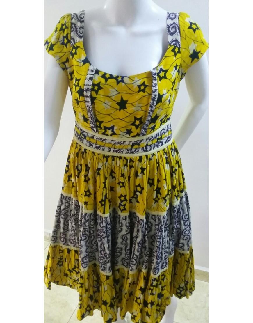 YELLOW PLEATED MIXED PATTERN DRESS