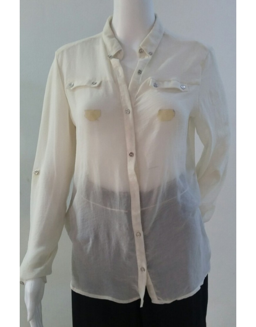 ATMOSPHERE WHITE BUTTONS LAPEL CHIFFON BLOUSE
