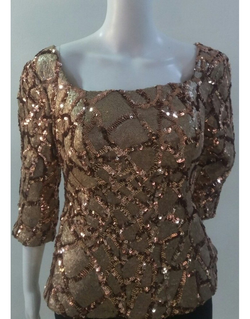 BROWN SEQUINED BLOUSE