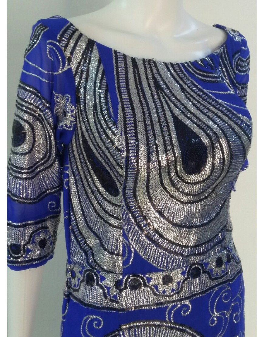 BLUE SEQUINED DRESS